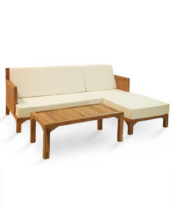 Fabric L-Shaped Sofa in Solid Teak Wood Frame