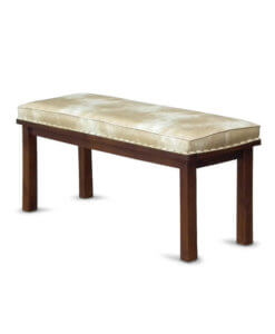 leather solid wood dining bench
