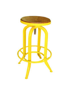 adjustable bar stool made of solid teak wood and metal