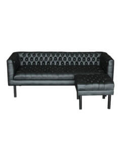 L-shaped sofa available in leather and fabric
