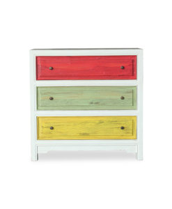 Colorful chest of drawers in solid wood