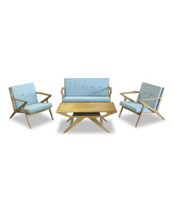 Danish Teak Wood Fabric Sofa Set