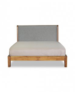 Solid Wood Bed Frame with headboard upholstered