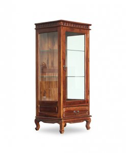 Solid Teak Wood Display Glass Storage Cabinet