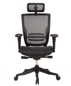 Fully ventilated black mesh office chair