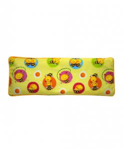 Yellow beansprout husk pillow with bees