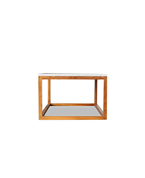Sybella White Marble Top Coffee Table With Teak Leg 1 2m