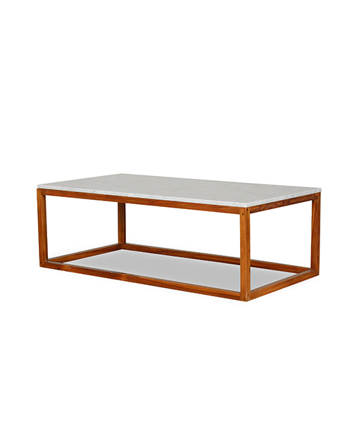 Sybella White Marble Top Coffee Table With Wooden Leg Living Room