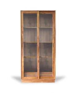 Solid Wood Glass Display Storage Cabinet
