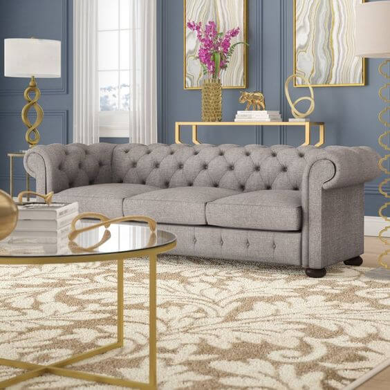 Posh Living Room Grey Chesterfield Sofa