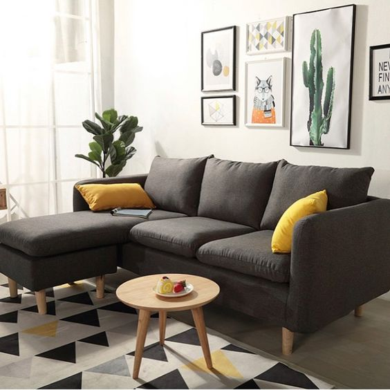 Small Grey L Shaped Sofa In Living Room Shop Furniture Online In